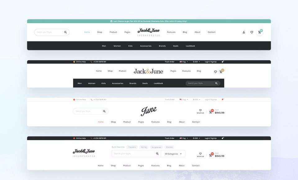 June Offer Unlimited Possibilities To Edit And Create Website Header Footer Styles With Live WordPress Customizer We Have Created 16 Templates